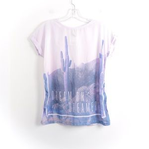 Dream boho graphic tee landscape desert cactus new